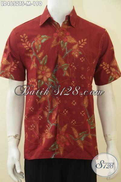 Hem Batik Halus Motif Bunga Warna Dasar Merah, Busana Batik Tulis Soga Halus Dan Adem Pilihan Tepat Untuk Tampil Mempesona Dan Gagah, Size M