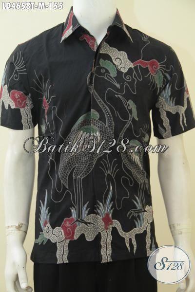 Toko Baju Batik Online Harga Grosir, Jual Kemeja Batik Hitam Motif Burung Size M Proses Tulis, Berbahan Halus Adem Enak Di Pakai
