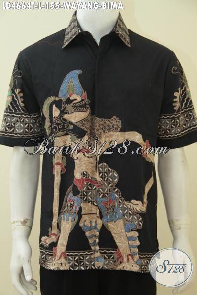 Baju Batik Wayang Motif BIma, Busana Batik Cowok Proses Tulis Lengan Pendek Modis Warna Hitam Elegan Tampil Makin Keren, Harga Terjangkau [LD4664T-L]