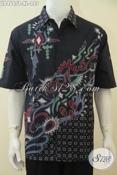 Kemeja Katik Kerja Pria Karir, Baju Batik Lengan Pendek Hitam Elegan Seragam Kantor Motif Trendy Tampil Berkelas, Size XL