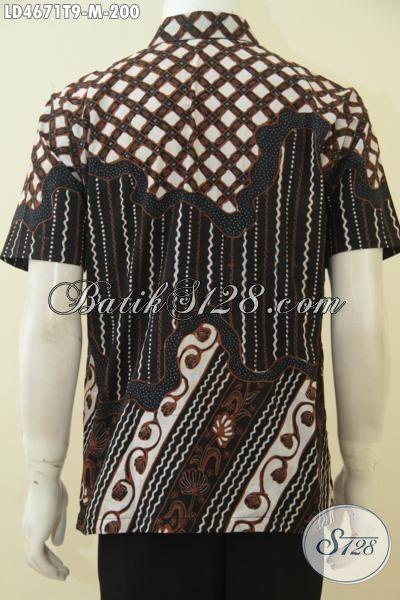 Busana Batik Tulis Bagus Motif Klasik Warna Berkelas, Hem Batik Lengan Pendek Elegan Pria Muda Tampil Gagah Dan Tampan Maksimal, Size M