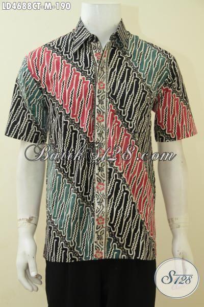 Produk Busana Batik Lelaki Model Lengan Pendek, Hem Batik Halus Proses Cap Tulis Motif Parang Elgan Buat Kerja Dan Kondangan, Size M