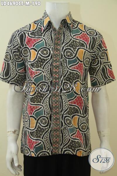 Baju Batik Modern Khas Anak Muda, Pakaian Batik Lengan Pendek Cap Tulis Modis Dan Fashionable Buat Acara Santai [LD4690CT-M]