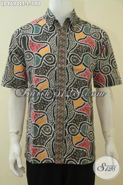 Produk Hem Batik Jawa Lengan Pendek Modis Dan Istimewa, Busana Batik Cap Tulis Motif Terbaru Yang Fashionable Buat Kerja Dan Pesta, Size L