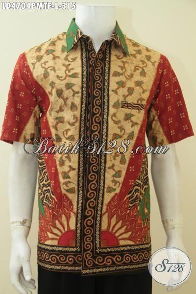 Baju Hem Batik Jawa Tengah Motif Klasik, Busana Batik Klasik Desain Formal Daleman Full Furing, Pakaian Batik Kerja Kombinasi Tulis Premium Harga Terjangkau, Size L