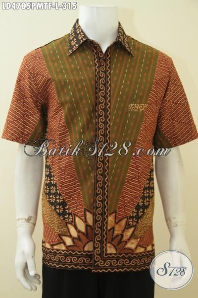 Batik Hem Kombinasi Tulis Pake Furing, Baju Batik Klasik Lengan Pendek Motif Matahari Tampil Elegan Modis Serta Berwibawa [LD4705PMTF-L]