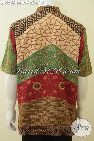Hem Batik 3L Warna Dan Motif Klasik, Baju Batik Jumbo Spesial Untuk Pria Gemuk, Berbahan Halus Proses Kombinasi Tulis, Size XXL