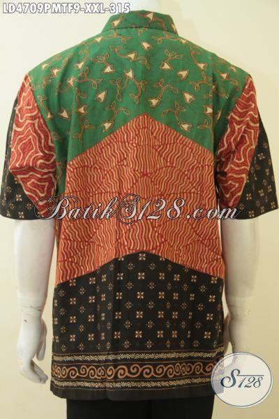 Jual Aneka Baju Batik Ukuran Jumbo, Baju Hem Batik Lengan Pendek Buatan Solo Motif Klasik, Busana Batik Full Furing Kombinasi Tulis Buat Pria Gemuk , Size XXL