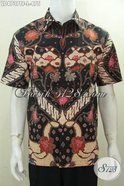 Hem Lengan Pendek Premium, Busana Batik Jawa Halus Proses Tulis Tangan Asli, Pakaian Batik Cowok Full Furing Motif Klasik Tampil Elegan, Size L