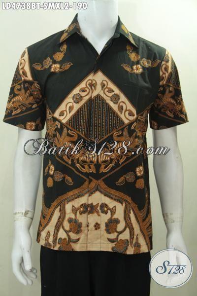 Hem Batik Klasik Lengan Pendek Motif Elegan Kombinasi Tulis, Busana Batik Pria Dewasa Ukuran XL Kwalitas Bagus Bahan Adem Nyaman Di Pakai