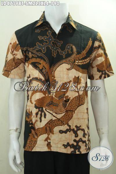 Baju Kemeja Batik Lengan Pendek Kombinasi Tulis, Busana Kerja Elegan Tampil Berkelas Serta Menawan, Di Jual Online Size S – M – L – XL