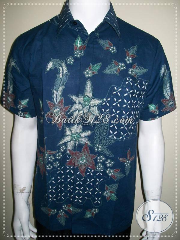 Batik Kerja Kantor Modern, Batik Pria Motif Kontemporer, Warna Biru [LD473T-M]