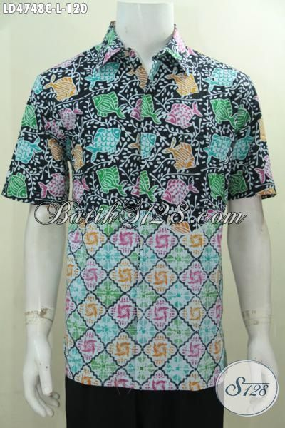 Busana Batik Motif Ikan Kwalitas Bagus 100 Ribuan, Kemeja Lengan Pendek Size L Proses Cap Untuk Lelaki Tampil Trendy Dan Stylish