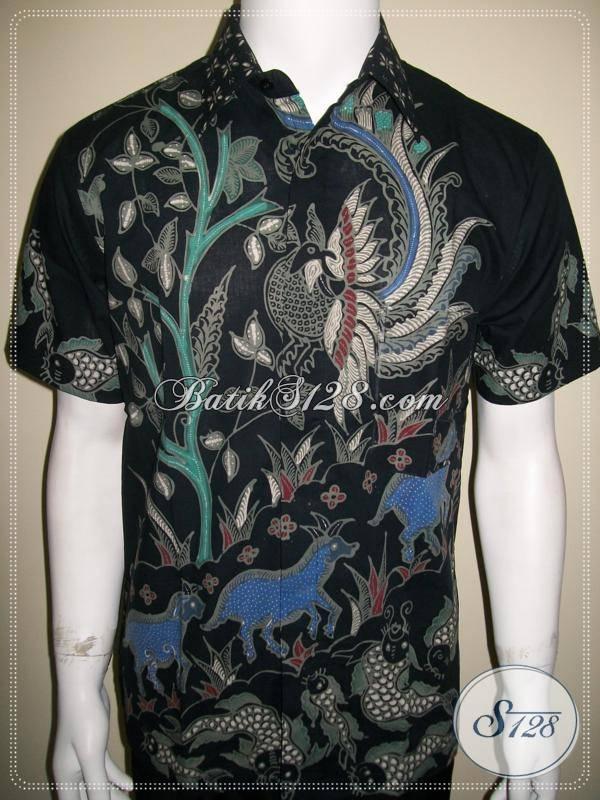 Baju Batik Pria Modern Kontemporer Warna Hitam, Motif Satwa Unik [LD474T-M]