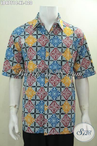 Hem Batik Pria Terbaru Motif Unik Berpadu Warna Keren Tampil Makin Beken, Baju Batik Lengan Pendek Spesial Buat Kerja Dan Acara Santai, Size XL