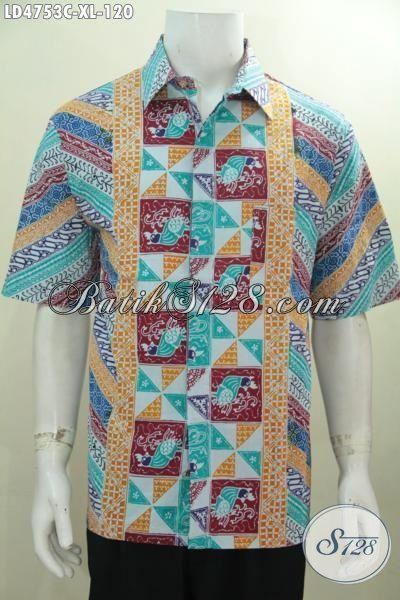 Baju Hem Batik Lengan Pendek Terbaru Dari Solo, Busana Batik Pria Dewasa Motif Unik Warna Menarik Bikin Cowok Terlihat Trendy Dan Modis, Size XL