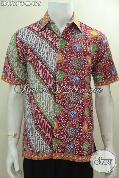 Baju Hem Batik Lengan Pendek Parang Ikan, Baju Kerja Keren Tampil Beken, Pakaian Batik Cap Tulis Warna Bagus Harga Terjangkau [LD4757CT-M]