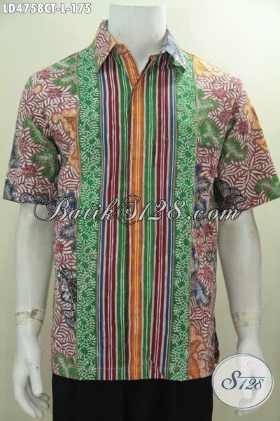 Baju Kemeja Batik Modern Ukuran L, Hem Batik Lengan Pendek Buatan Solo Motif Bagus Warna Keren Tampil Lebih Paten
