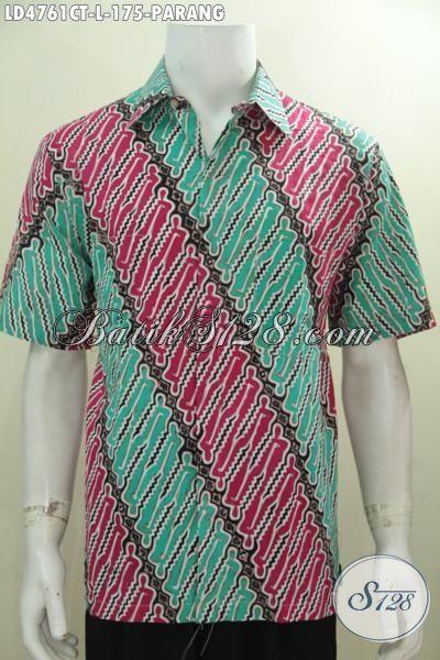 Baju Hem Batik Cap Tulis Motif Kalsik Warna Modern, Busana Batik Parang Lengan Pendek Bikin Lelaki Makin Gagah Dan Keren, Size L