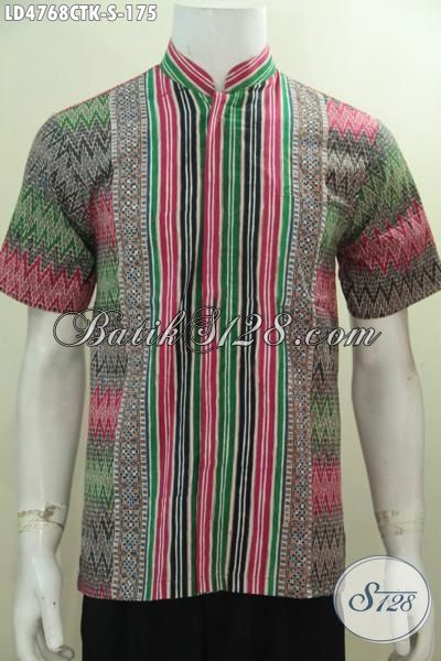Hem Batik Trendy Model Lengan Pendek Kerah Shanghai, Busana Batik Jawa Halus Desain Berkelas Dan Gaul Proses Cap Tulis, Bikin Cocok Tampil Modis [LD4768CTK-S]
