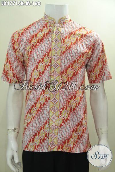 Baju Batik Parang Modis Warna Cerah Kwalitas Bagus, Hem Batik Koko Desain Terkini Proses Cap Harga Terjangkau, Size M