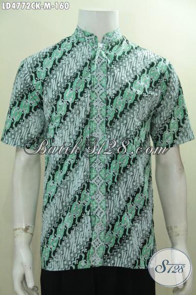 Jual Kemeja Batik Lengan Pendek Modis Desain Kerah Shanghai, Hem Batik Proses Cap Motif Parang Warna Trendy Cocok Buat Acara Santai, Size M