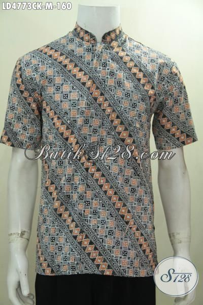 Hem Batik Koko Motif Parang Desain Modern, Baju Batik Kerah Shanghai Lengan Pendek Cap Tampil Modis Keren Dan Gaul, Size M