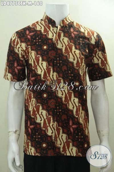 Baju Kerja Batik Motif Klasik Warna Elegan, Hem Batik Kerah Shanghai Lengan Pendek Proses Cap Tulis Tampil Gagah Dan Modis, Size M
