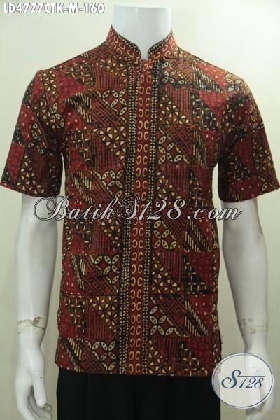 Baju Batik Modern Buatan Solo Motif Unik Nan Elegan, Pakaian Batik Koko Buatan Solo Proses Cap Tulis Keren Dan Berkelas, Size M