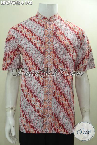 Hem Batik Parang Warna Cerah Model Kerah Shanghai Proses Cap, Pakaian Batik Jawa Halus Untuk Kerja Bisa Jalan-Jalan Juga Bisa, Size L