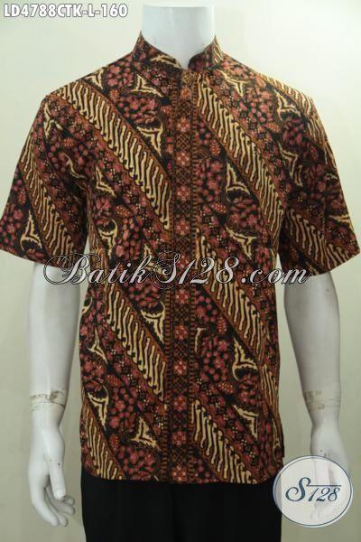 Baju Batik Klasik Parang Bunga Desain Kerah Shanghai, Busana Batik Elegan Lengan Pendek Cocok Buat Acara Formal [LD4788CTK-L]