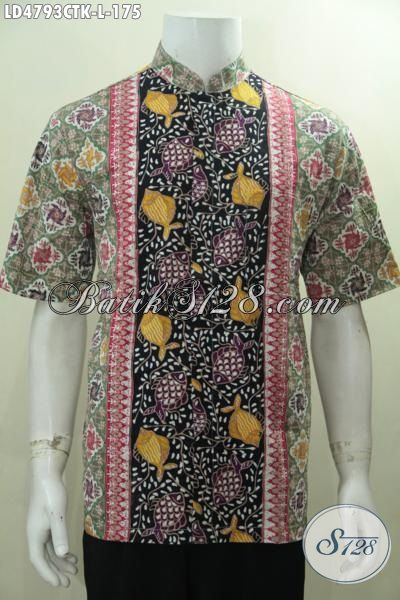 Busana Batik Koko Tiga Motif, Baju Muslim Keren Model Kerah Shanghai Persiapan Lebaran, Berbahan Batik Cap Tulis Yang Halus Dan Adem, Size L