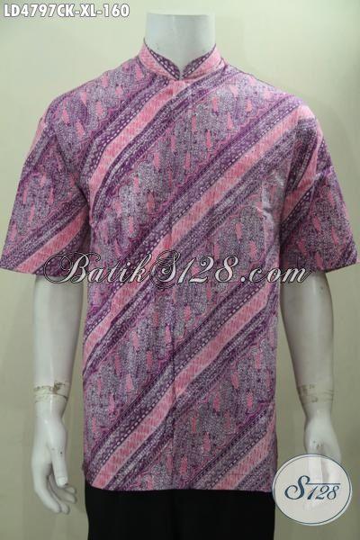 Hem Koko Batik Lengan Pendek Motif Elegan Warna Berkelas, Baju Batik Pria Muda Dan Dewasa Proses Cap Tampil Modis Dan Tampan, Size XL