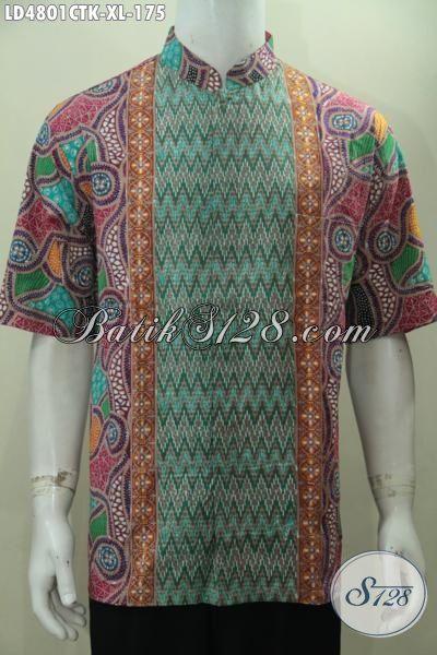 Kemeja Batik Motif Kombinasi Dengan Warna Terang Model Kerah Shanghai, Baju Batik Trendy Kwalitas Halus Proses Cap Tulis Tampil Gagah Bergaya, Size XL