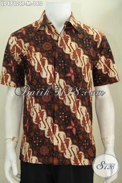Jual Online Hem Kerja Bahan Batik Parang Proses Cap Tulis, Baju Batik Klasik Lengan Pendek Membuat cowok Terlihat Berkelas, Size M