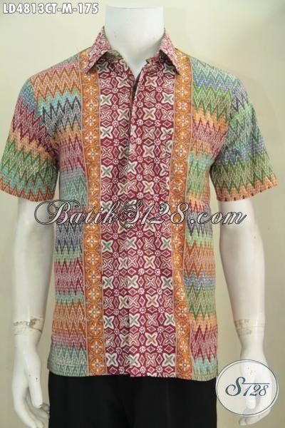 Jual Online Batik Hem Lengan Pendek Motif Trendy Desain Modern, Pakaian Batik Jawa Untuk Seragam Kerja Kantoran Tampil Tampan Maksimal, Size M