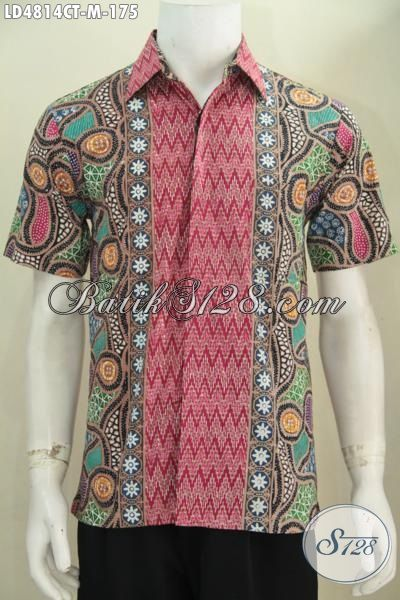 Baju Batik Modern Kwalitas Mewah Harga Terjangkau, Batik Hem Lengan Pendek Cap Tulis Asli Buatan Solo Tampil Gaya Dan Keren, Size M