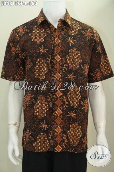 Agen Pakaian Batik Jual Online Hem Batik Lengan Pendek Berkelas Motif Klasik, Busana Batik Lelaki Muda Dan Dewasa Proses Cap Tulis  Cocok Buat Ke Kantor, Size L