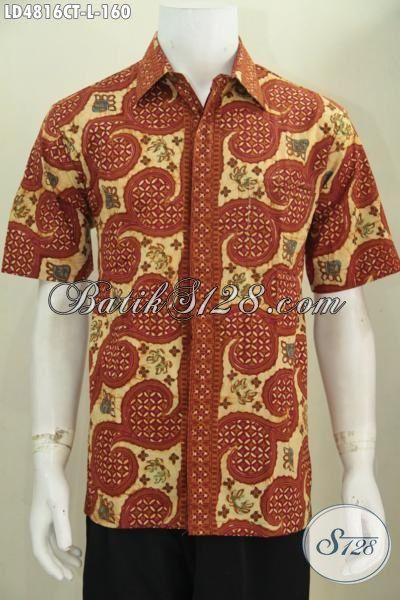 Baju Batik Trendy Warna Coklat Motif Unik Dan Keren Abis
