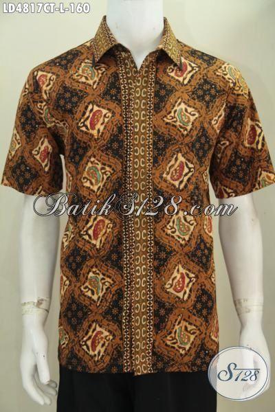 Batik Hem Bagus Buatan Solo Desain Terbaru Lebih Mewah, Baju Batik Cap Tulis Motif Elegan Tampil Gagah Dan Mempesona, Size L