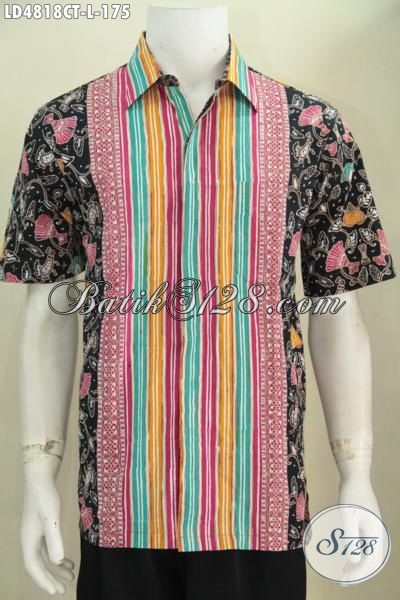Batik Kemeja Lengan Pendek Motif Keren Tampil Modis Dan Gaul, Baju Batik Pria Model Terbaru Berbahan Halus Proses Cap Tulis, Size L
