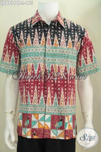 Batik Hem Keren Motif Kombinasi, Baju Batik Warna Cerah Bikin Penampilan Tambah Keren Parah, Busana Batik Cap Tulis Kwalitas Premium Harga Minimum [LD4819CT-L]
