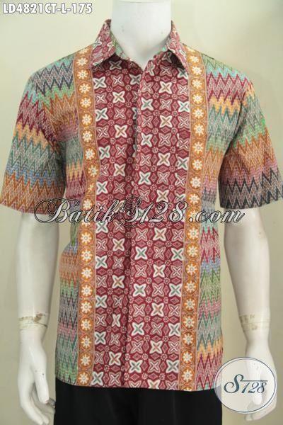 Hem Batik Ukuran L Model Lengan Pendek, Busana Batik Motif Kombinasi Berpadu Warna Cerah Yang Mempesona Membuat Cowok Terlihat Berkelas