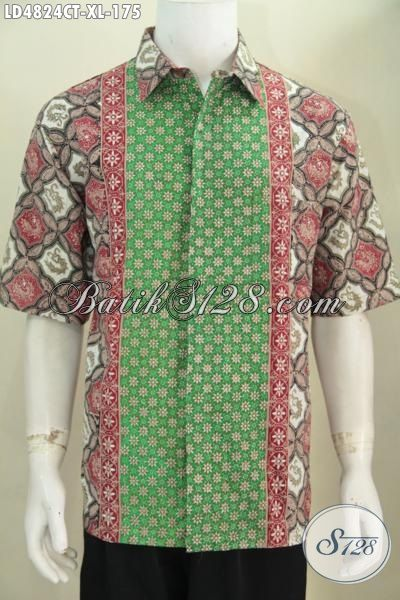 Batik Hem Keren Motif Kombinasi Proses Cap Tulis, Pakaian Batik Trendy Lengan Pendek Size XL, Berbahan Adem Kwalitas Istimewa Hanya 175K, Size XL