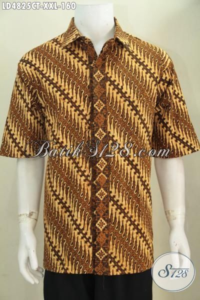 Jual Online Busana Batik Jawa Halus Modis Motif Parang Klasik, Baju Batik Cap Tulis Lengan Pendek Ukuran XXL Spesial Buat Pria Gemuk