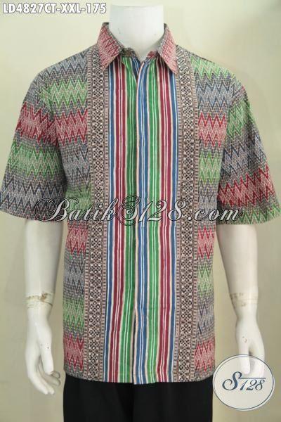 Jual Baju Kerja Batik Ukuran 3L, Kemeja Batik Bagus Berbahan Halus Motif Kombinasi, Pakaian Batik Pria Gemuk Tampil Makin Modis Dan Keren
