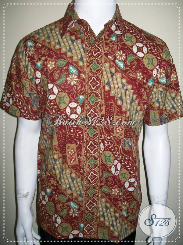 Baju Batik Karyawan Kantor, Motif Parang Kawung Warna Merah [LD482CTC-M]