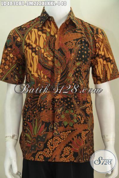 Produk Kemeja Batik Jawa Motif Klasik, Baju Batik Lengan Pendek Istimewa Kwalitas Halus Tampil Modis Berkarakter, Proses Kombinasi Tulis