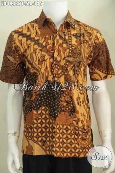 Hem Lengan Pendek Batik Jawa Klasik Proses Kombinasi Tulis, Baju Kerja Batik Elegan Buatan Solo Kwalitas Mewah Harga Murah Meriah, Size M – L