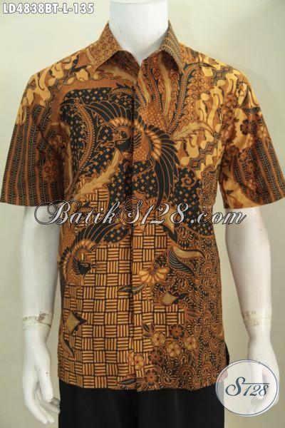Jual Online Kemeja Batik Kombinasi Tulis Motif Klasik, Baju Batik Lengan Pendek Elegan Pas Banget Untuk Kondangan, Size L